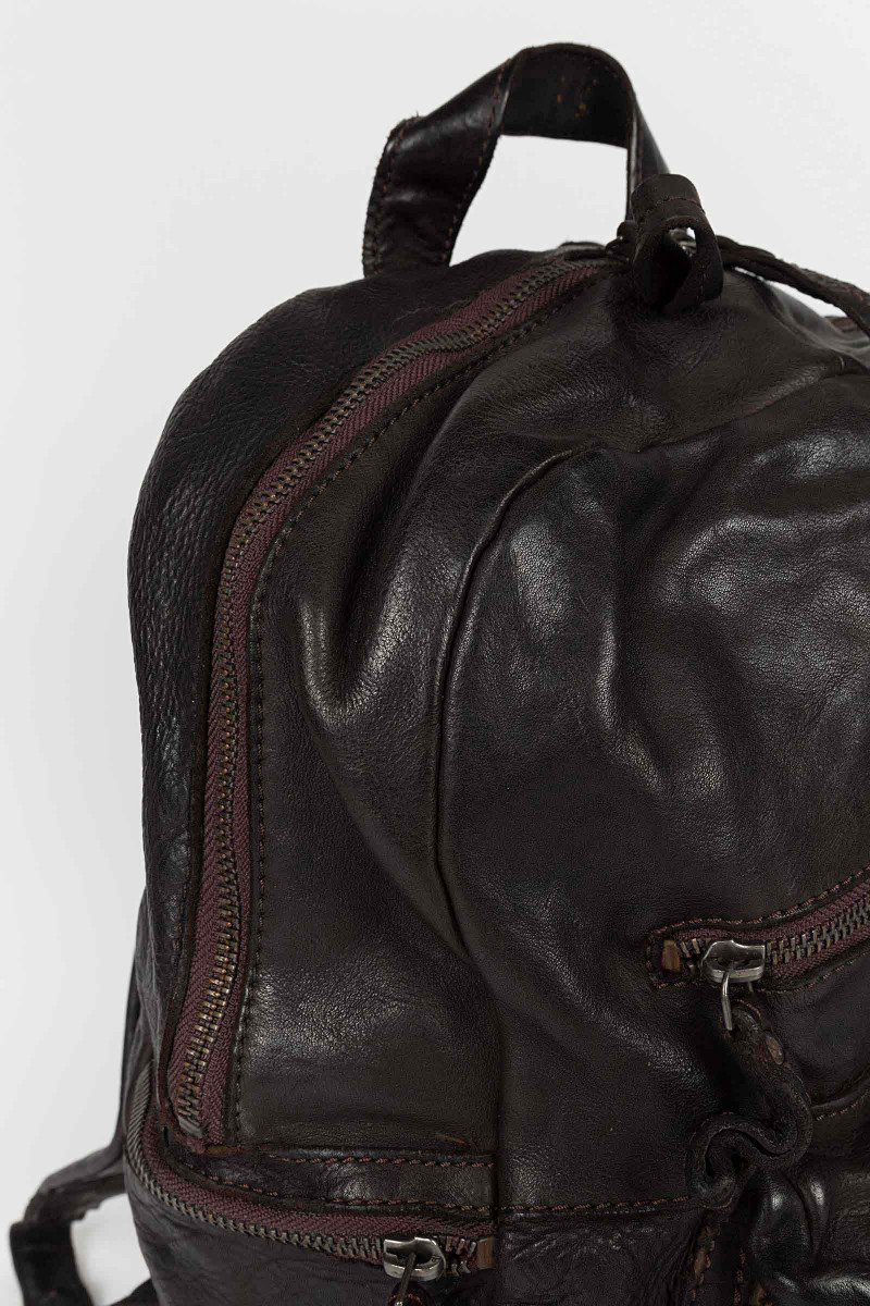 Brown Leather Backpack Zippers