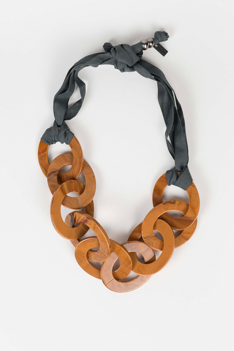 Brown Link Necklace XL Elisa & Eduardo Rivera