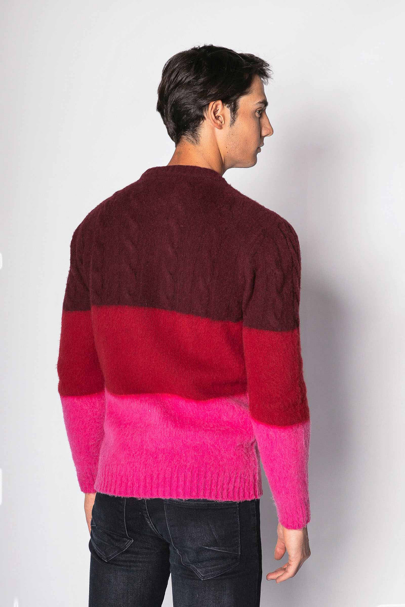 Burgundy Tricolor Sweater
