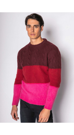Burgundy Tricolor Sweater Eduardo & Elisa Rivera