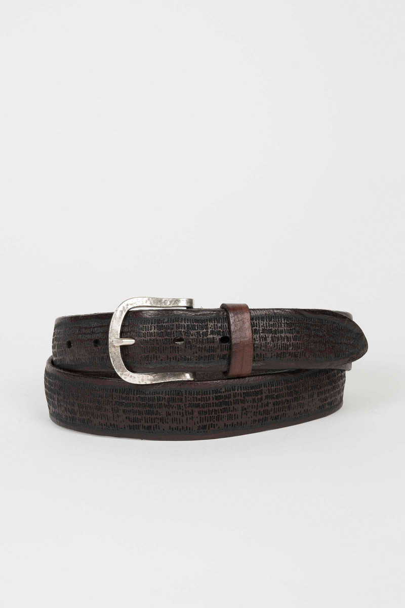 Brown Die Cut Leather Belt Eduardo & Elisa Rivera