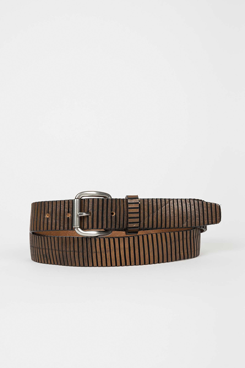 Striped Leather Belt Eduardo & Elisa Rivera