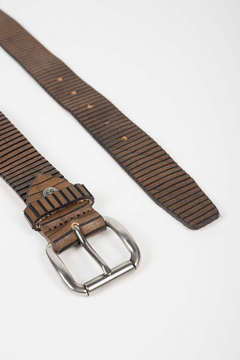 Striped Leather Belt