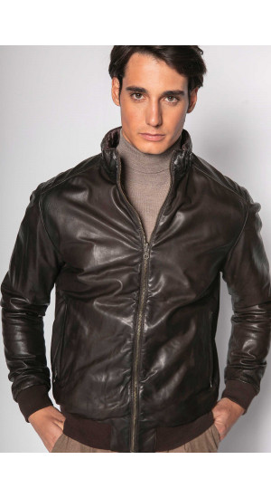 Brown Reversible Leather Jacket Eduardo & Elisa Rivera