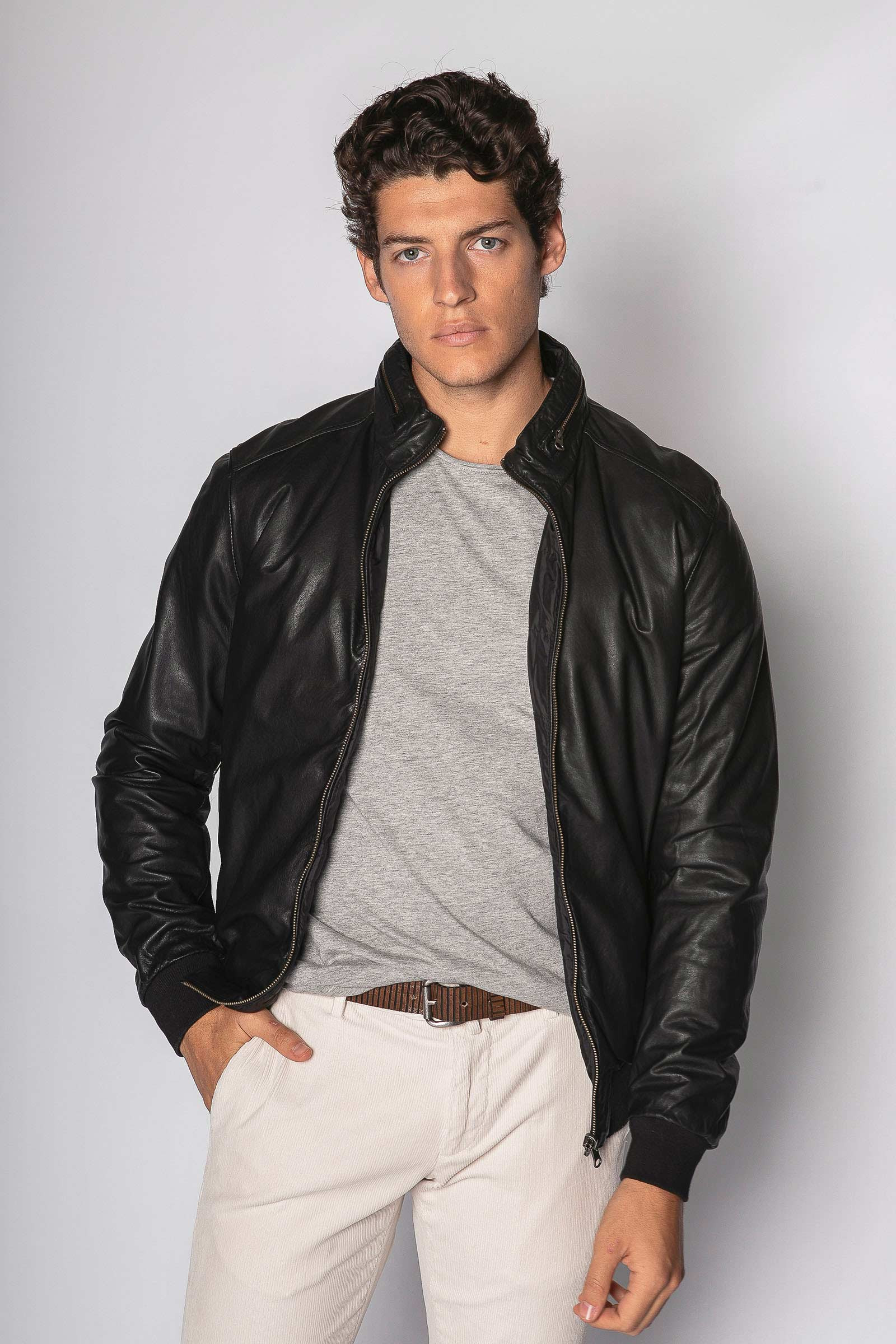 Black Reversible Leather Jacket Eduardo & Elisa Rivera