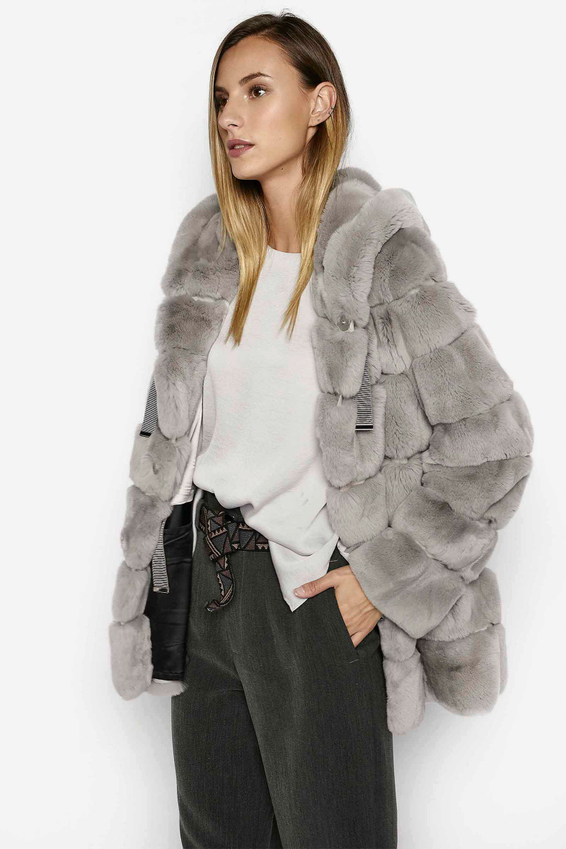 Gray Rex Fur Jacket