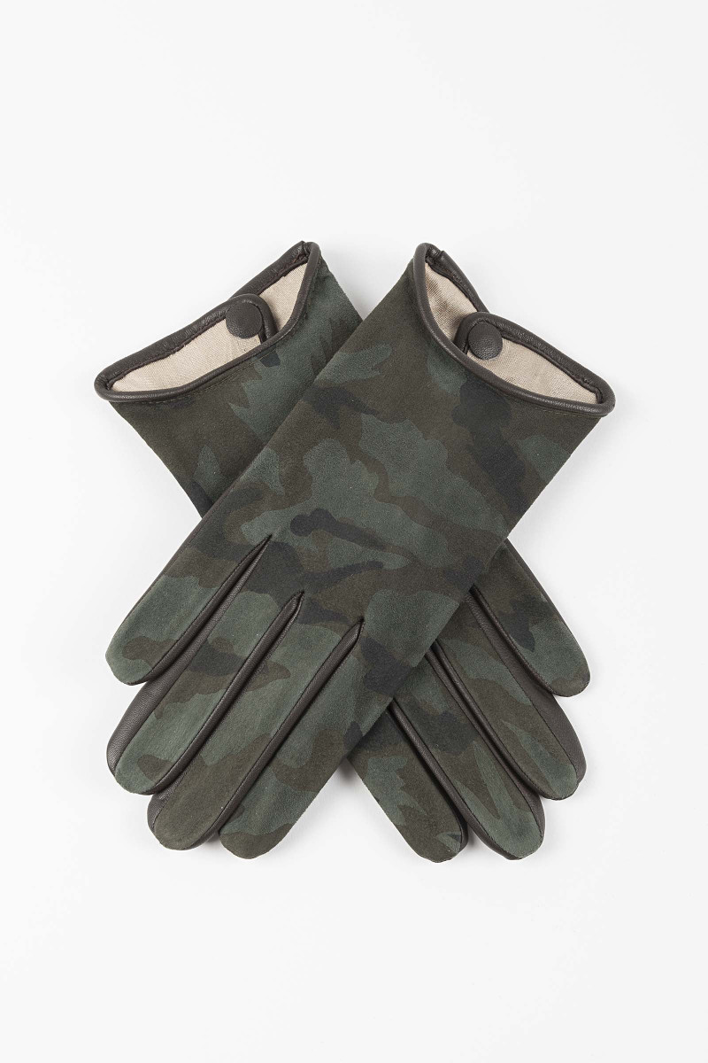 Leather-Silk Camouflage Gloves Elisa & Eduardo Rivera