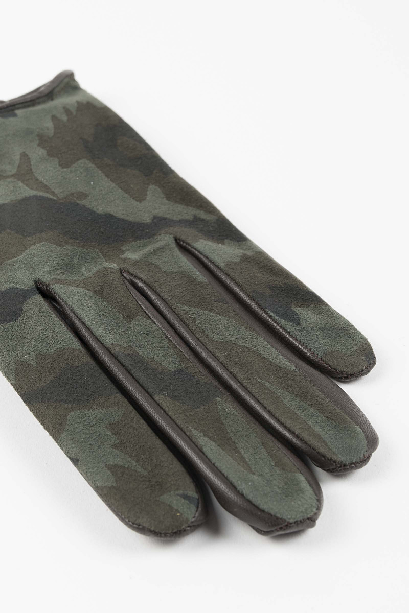 Leather-Silk Camouflage Gloves