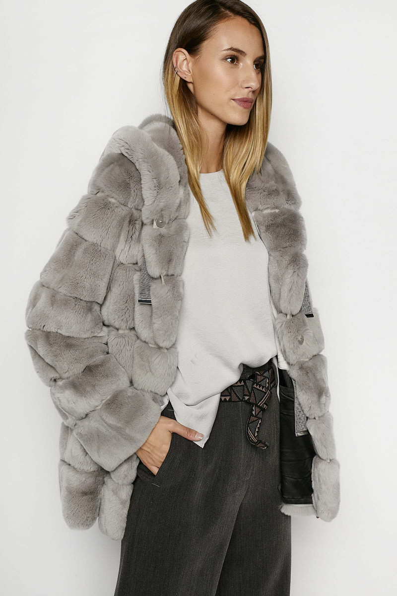 Gray Rex Fur  Jacket Elisa & Eduardo Rivera