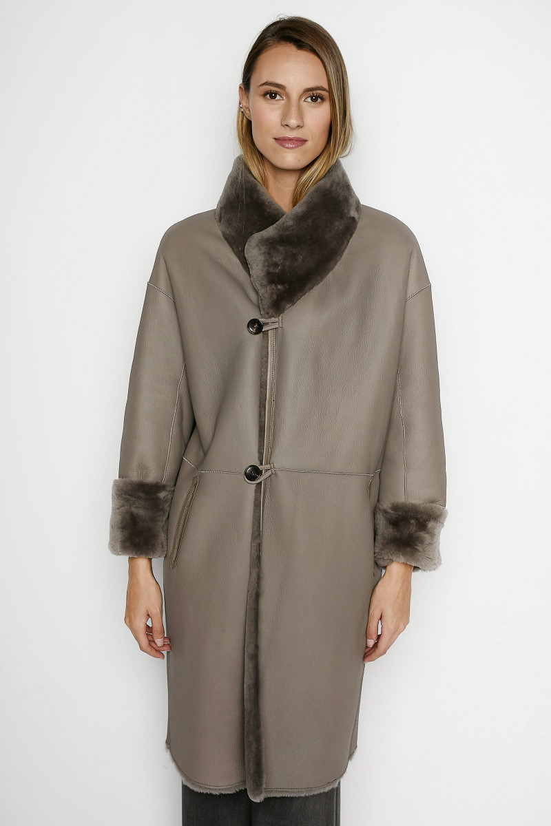 Taupe Mouton Reversible Coat
