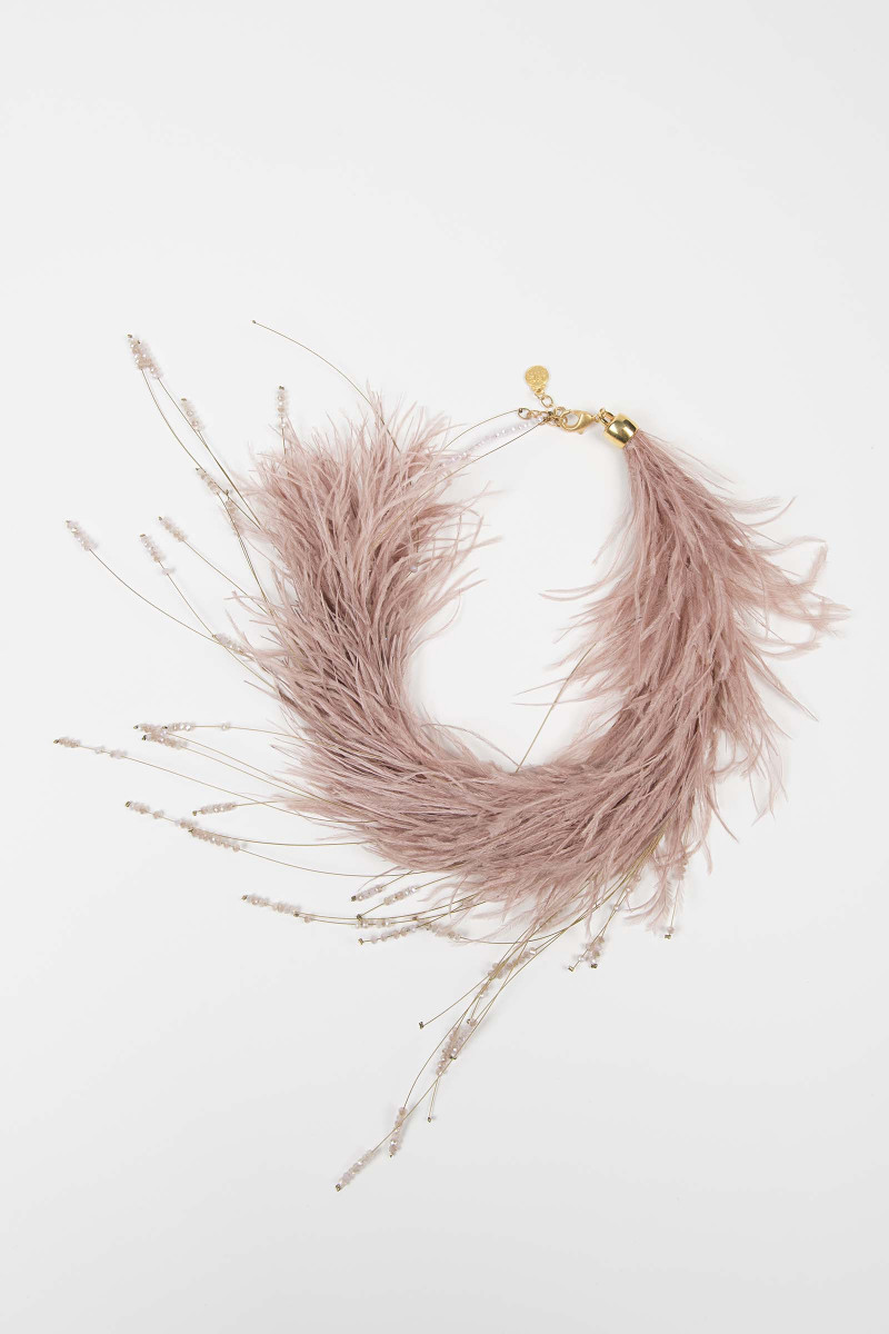 Pink Feather Necklace Elisa & Eduardo Rivera