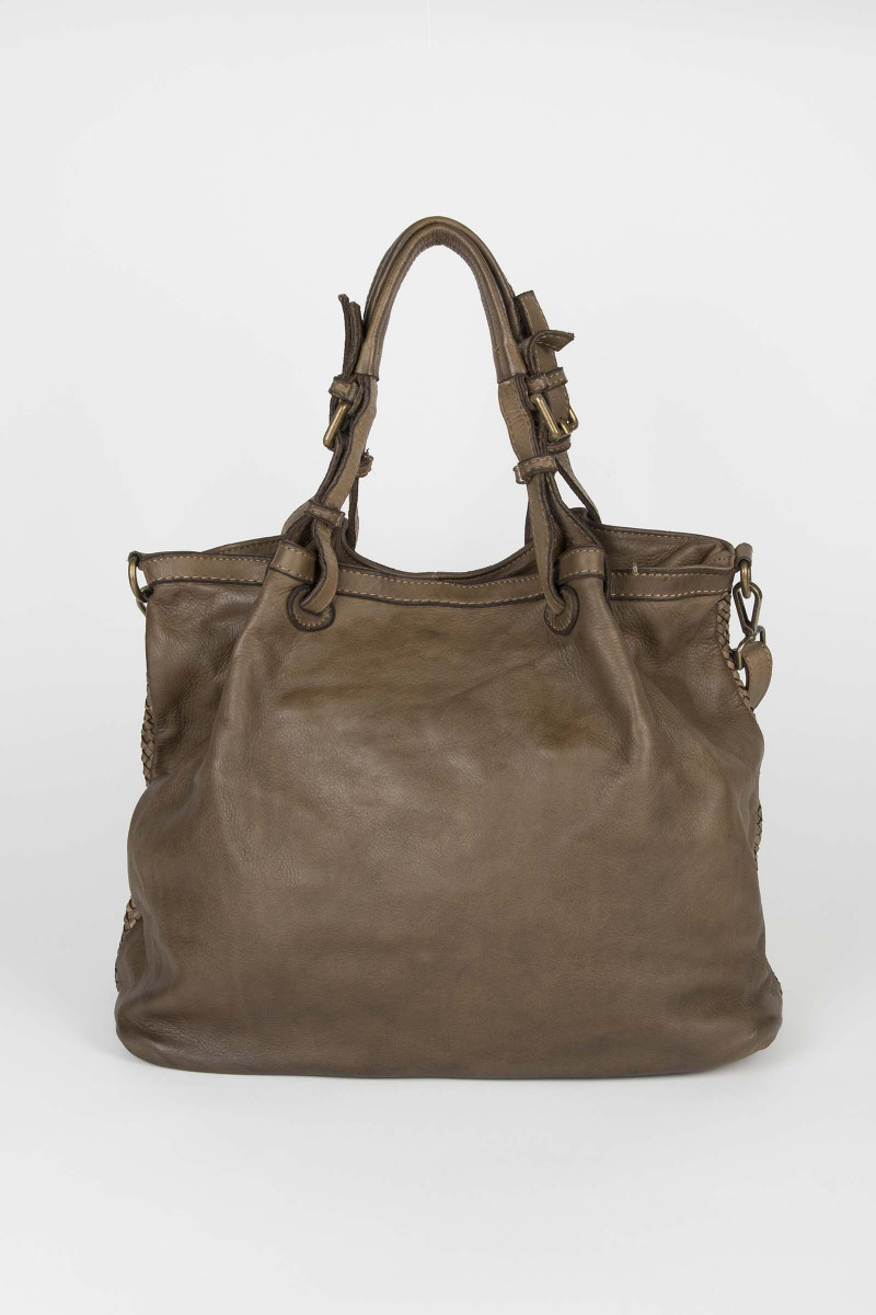 Taupe Cutwork Leather Bag