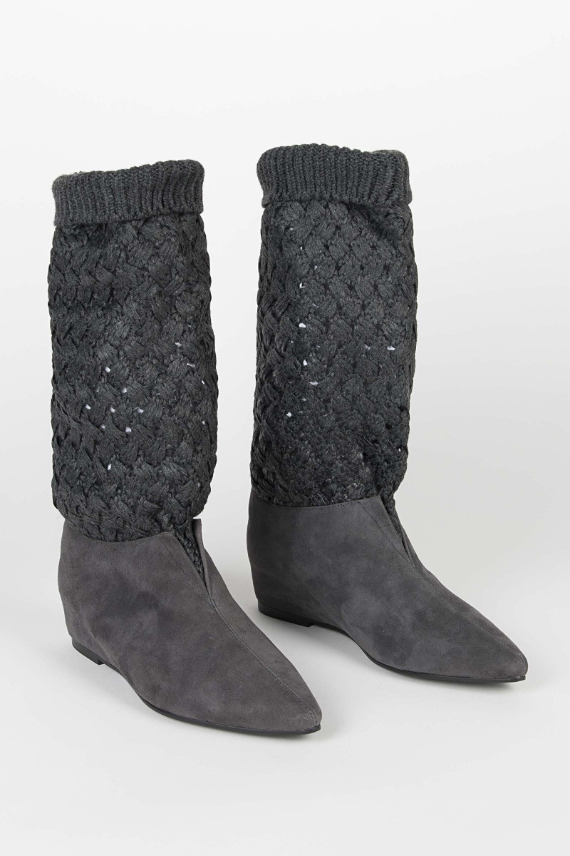 Gray Knit Boots