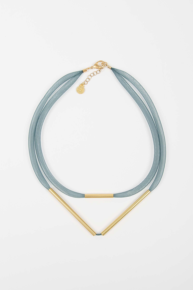 Blue-Gold Mesh Necklace Elisa & Eduardo Rivera