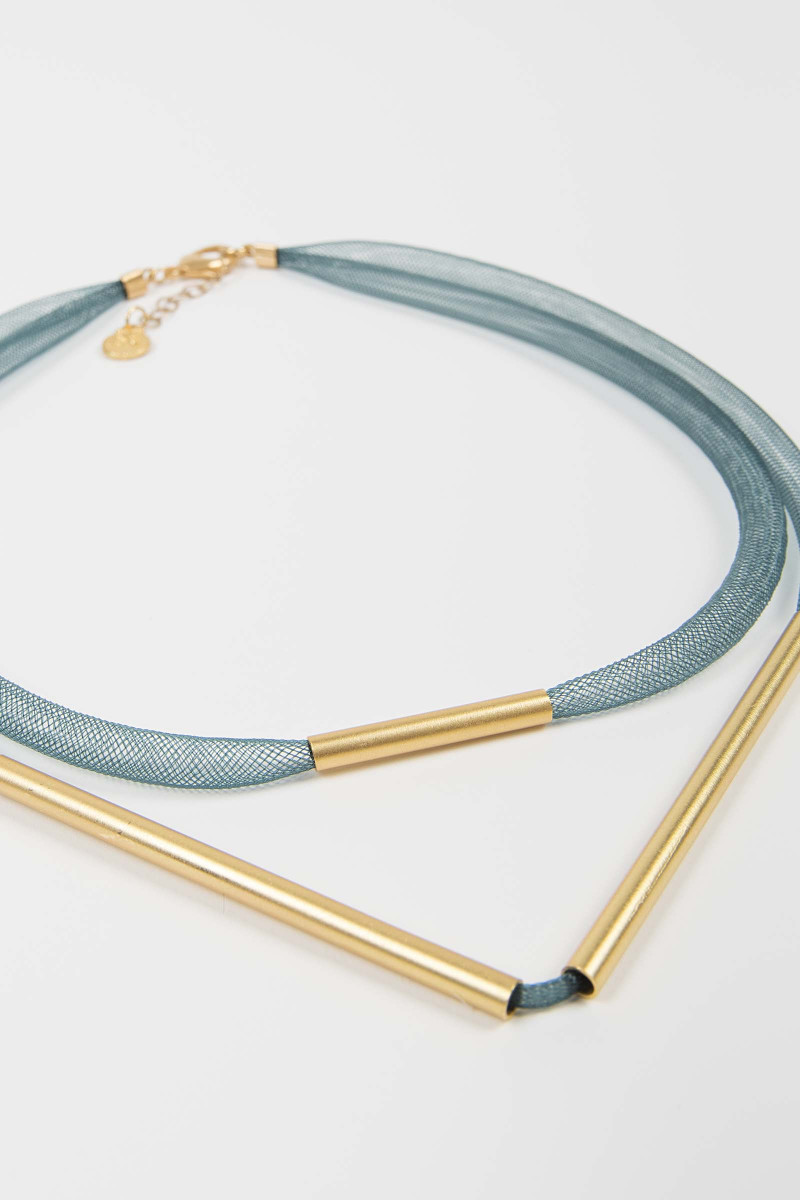 Blue-Gold Mesh Necklace