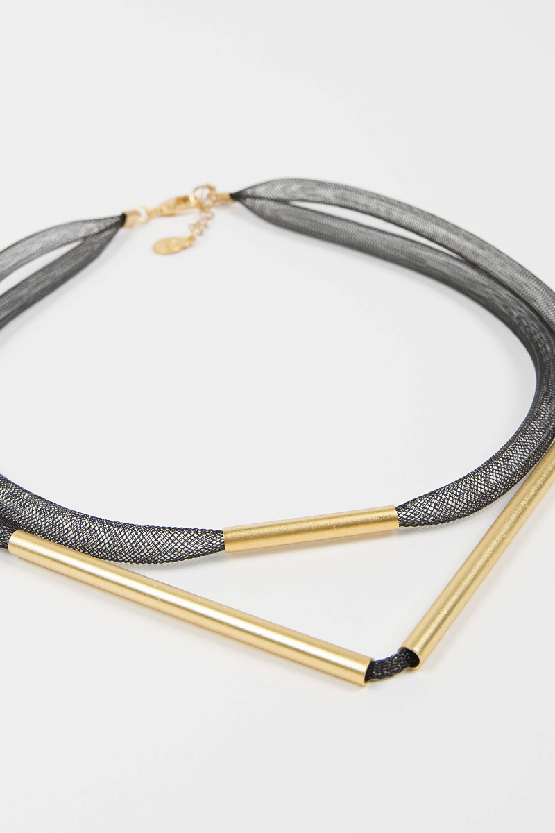 Gray-Gold Mesh Necklace