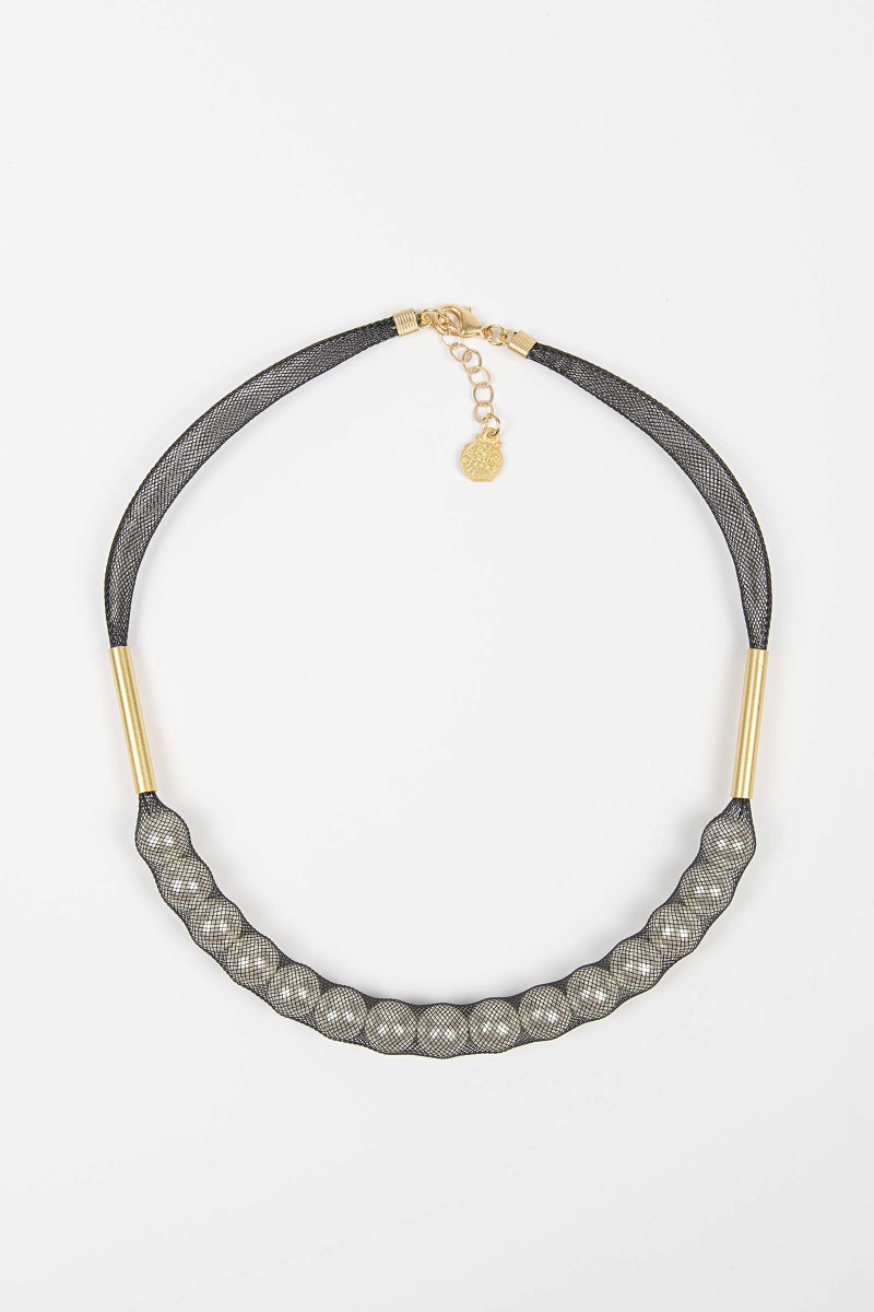 Gray Glass Mesh Necklace Elisa & Eduardo Rivera
