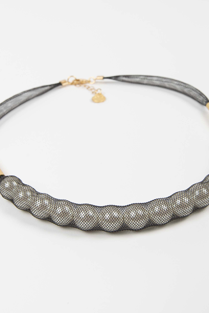 Gray Glass Mesh Necklace