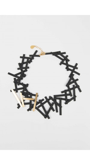 Black-Gold Rubber Necklace Elisa & Eduardo Rivera