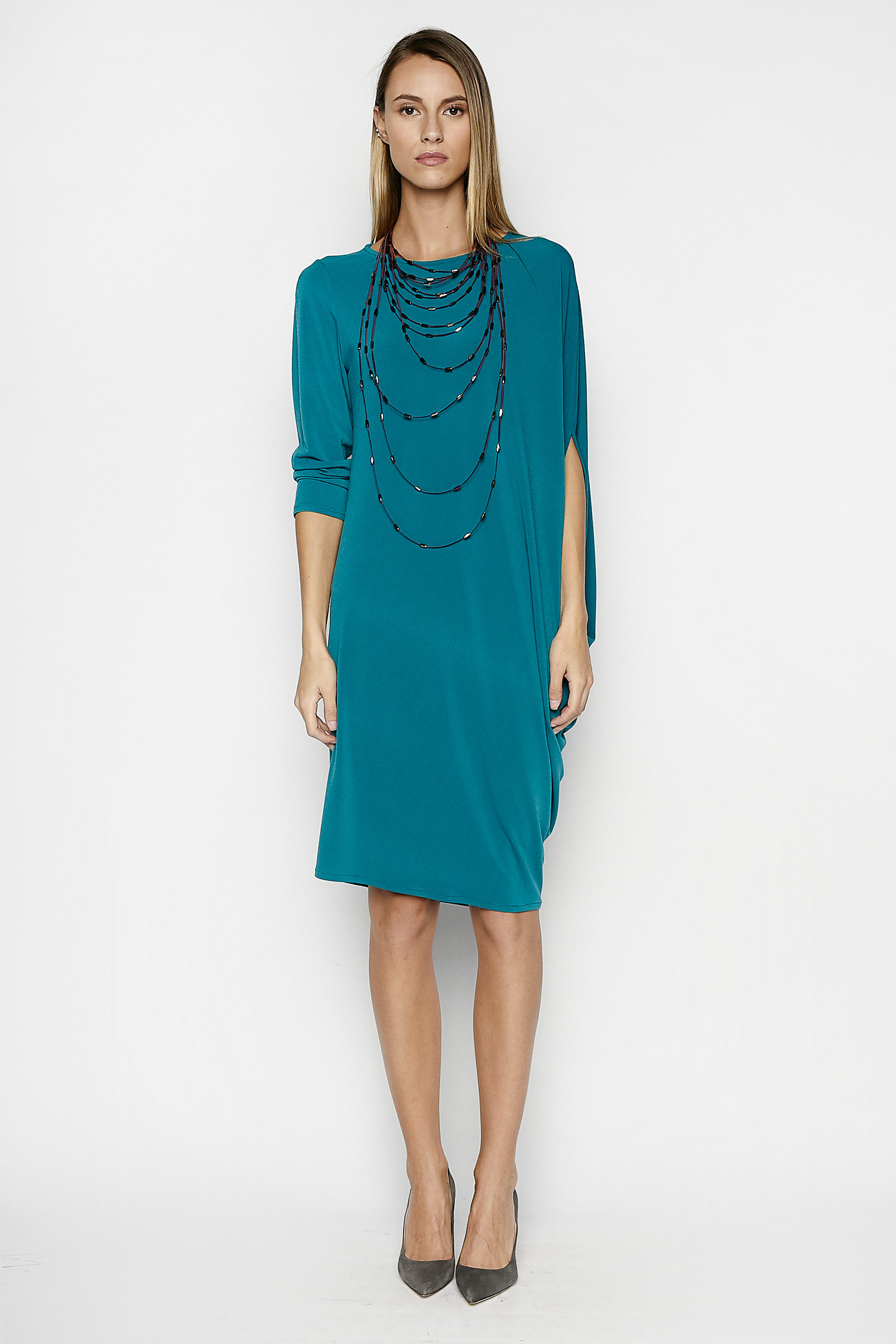 Green Anne Asymmetric Dress Elisa & Eduardo Rivera
