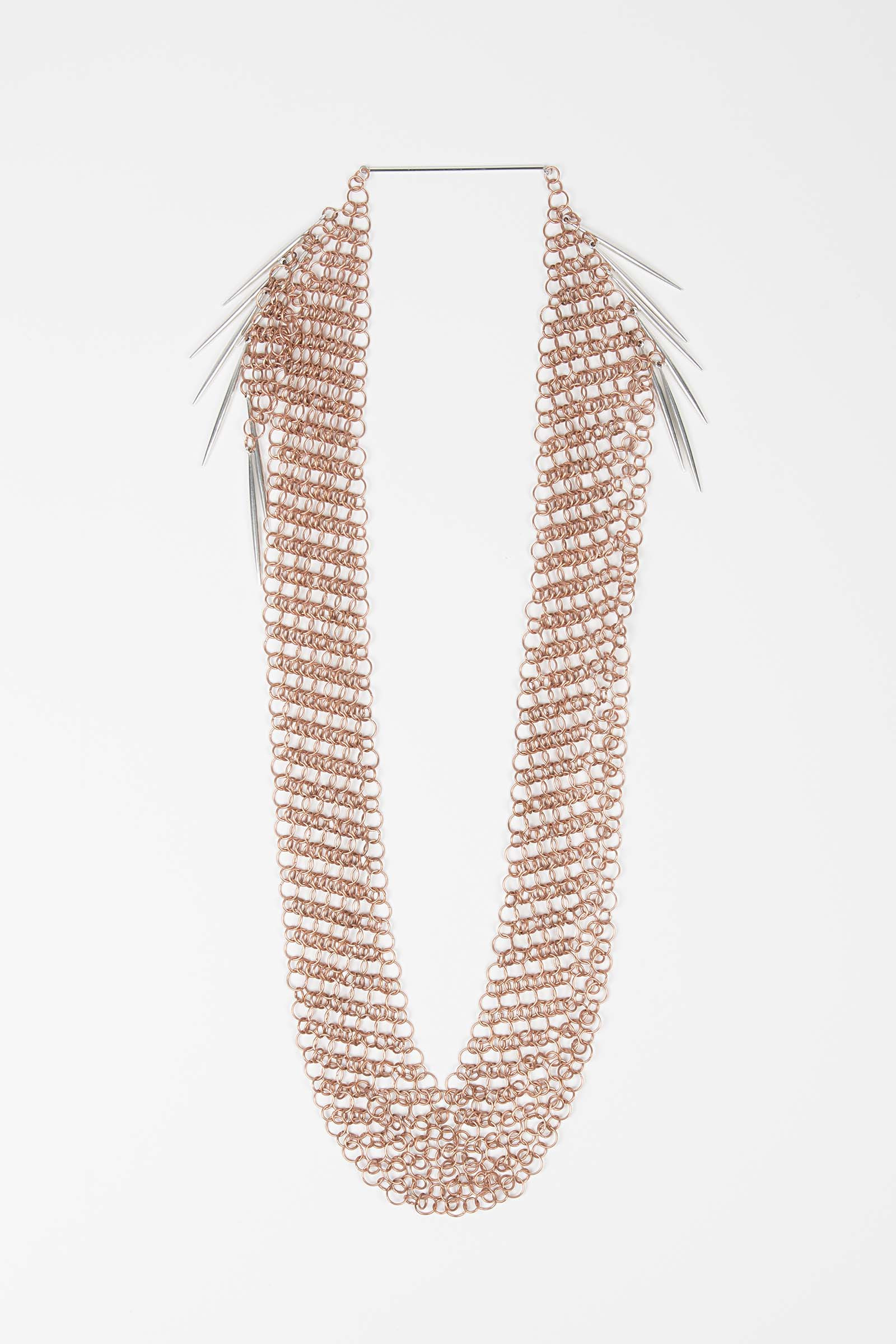 Long Bronze Mesh Necklace Elisa & Eduardo Rivera