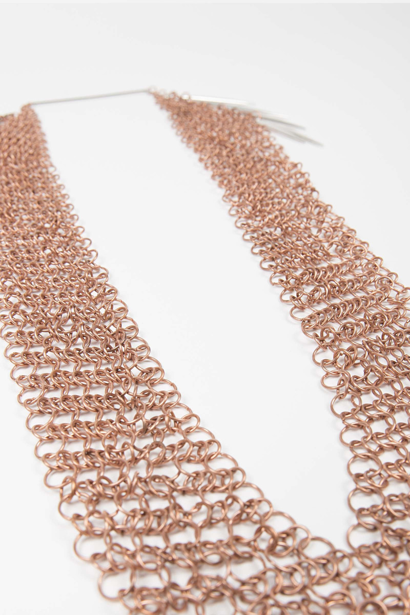 Long Bronze Mesh Necklace
