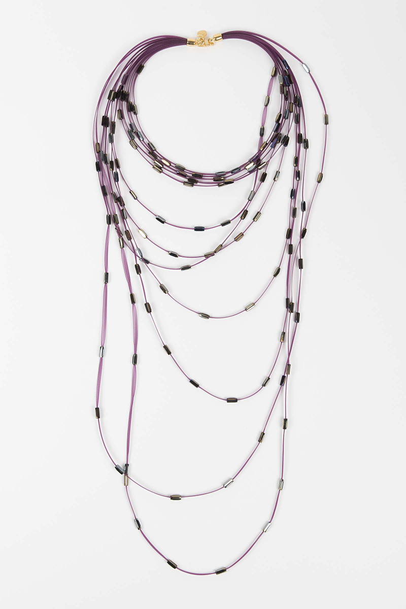 Fuchsia Strips Necklace Elisa & Eduardo Rivera