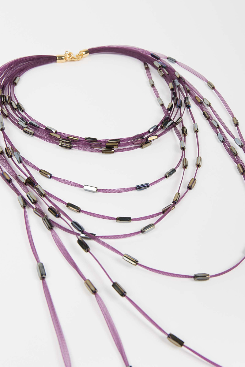 Fuchsia Strips Necklace