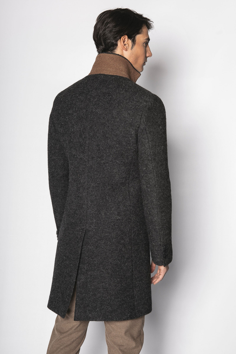 Charcoal Gray-Camel  Coat