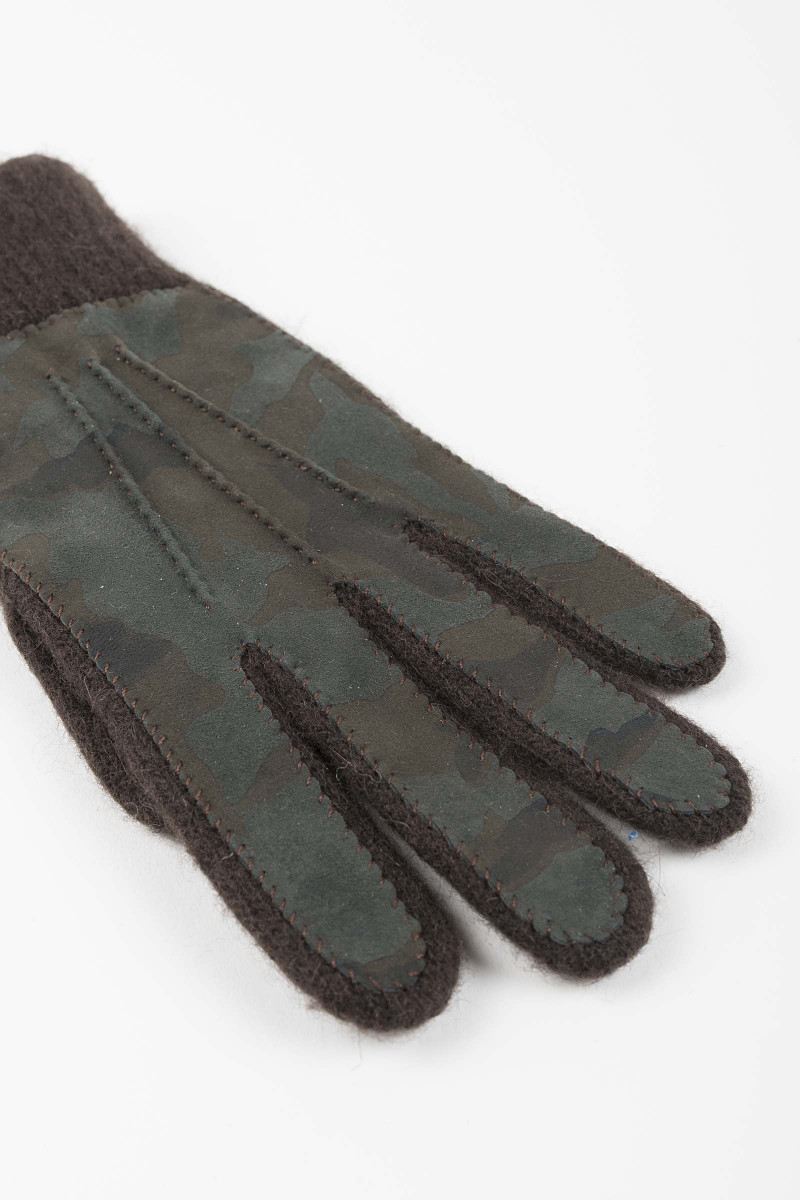 Brown Leather-Wool Gloves