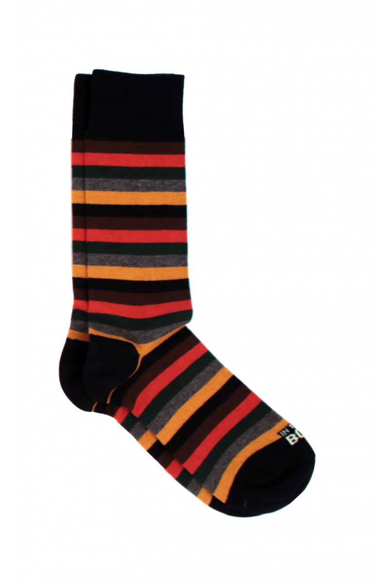 Black-Orange Striped Sock Eduardo & Elisa Rivera