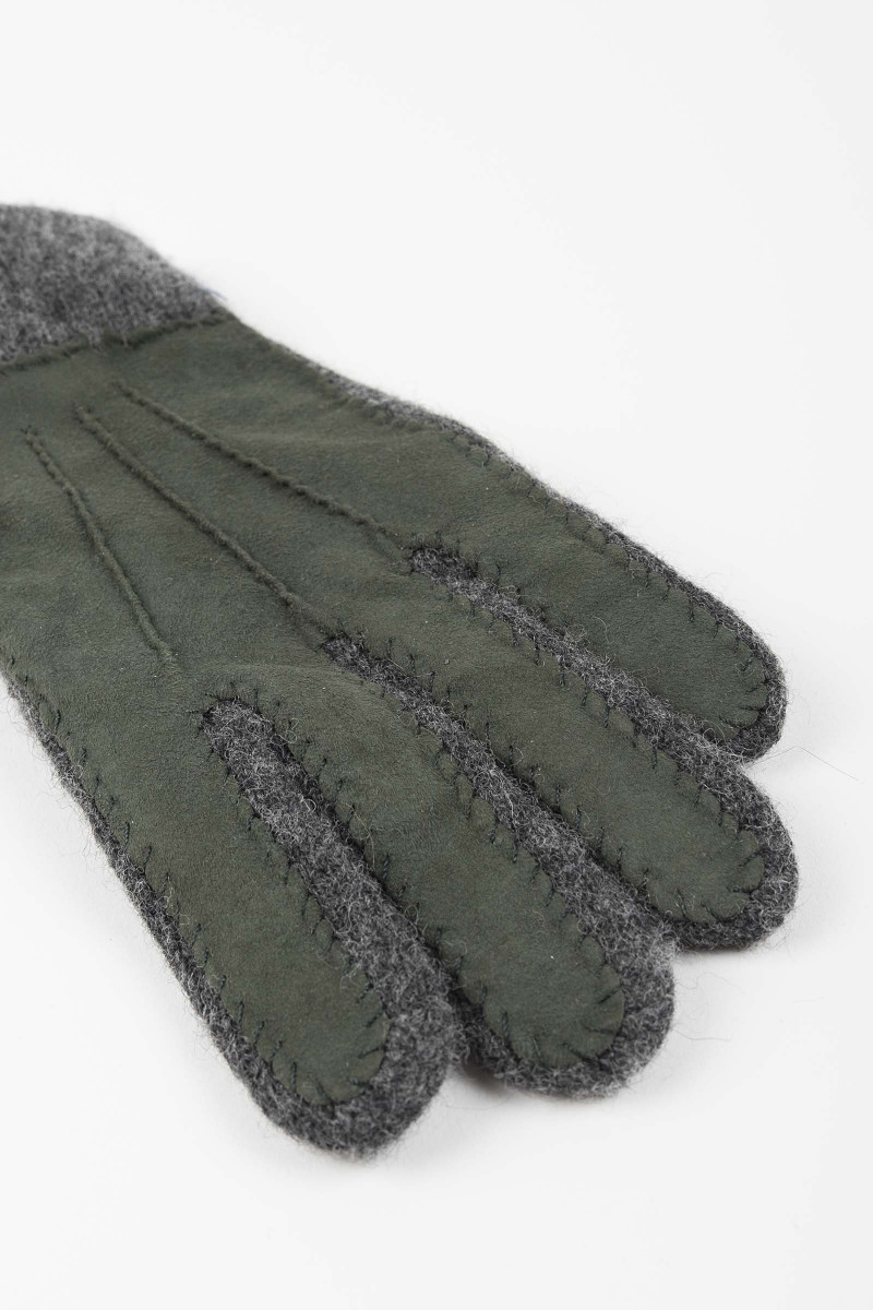 Green Leather-Wool Gloves