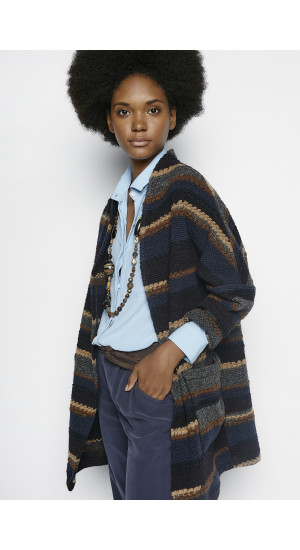 Daphne Striped Short Coat Elisa & Eduardo Rivera