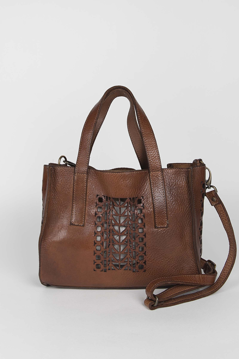 Brown Small Cutwork Leather Bag  Elisa & Eduardo Rivera