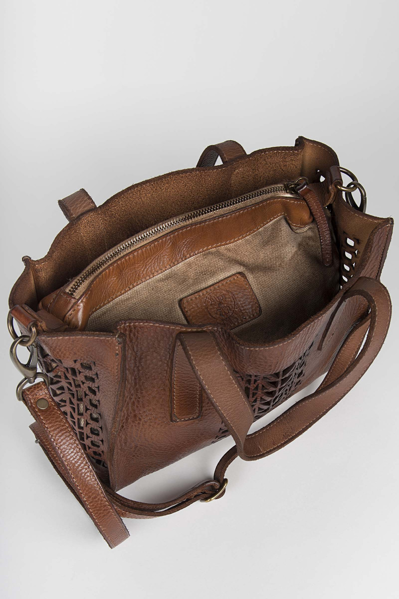 Brown Small Cutwork Leather...