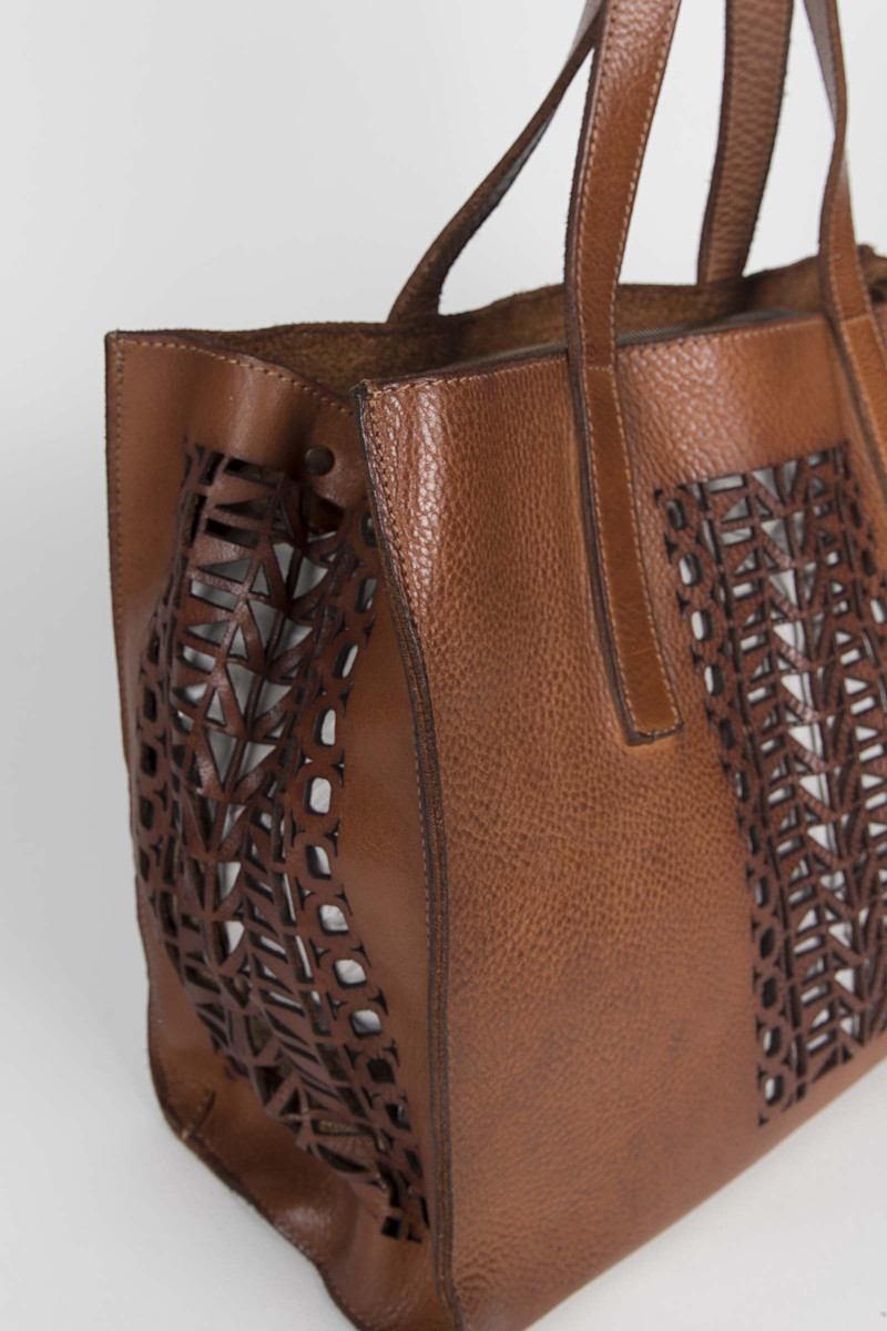Brown Big Cutwork Leather Bag