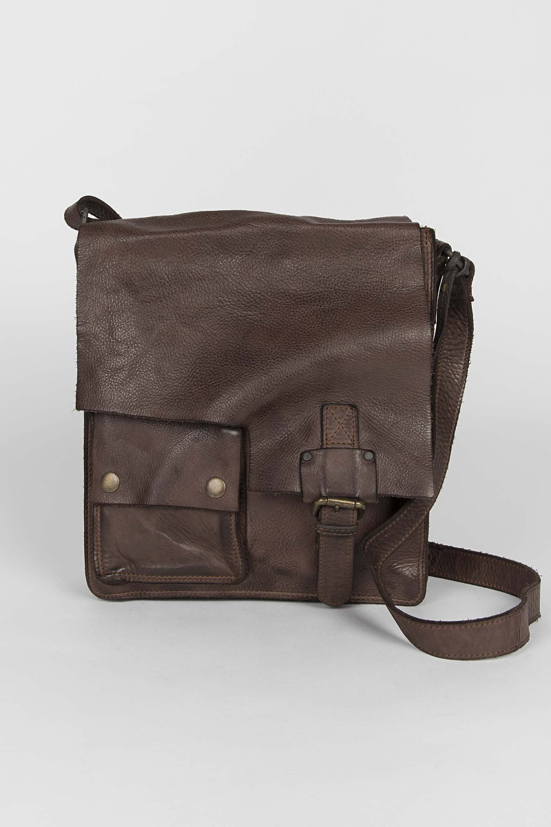 Leather Pocket Shoulder Bag Eduardo & Elisa Rivera
