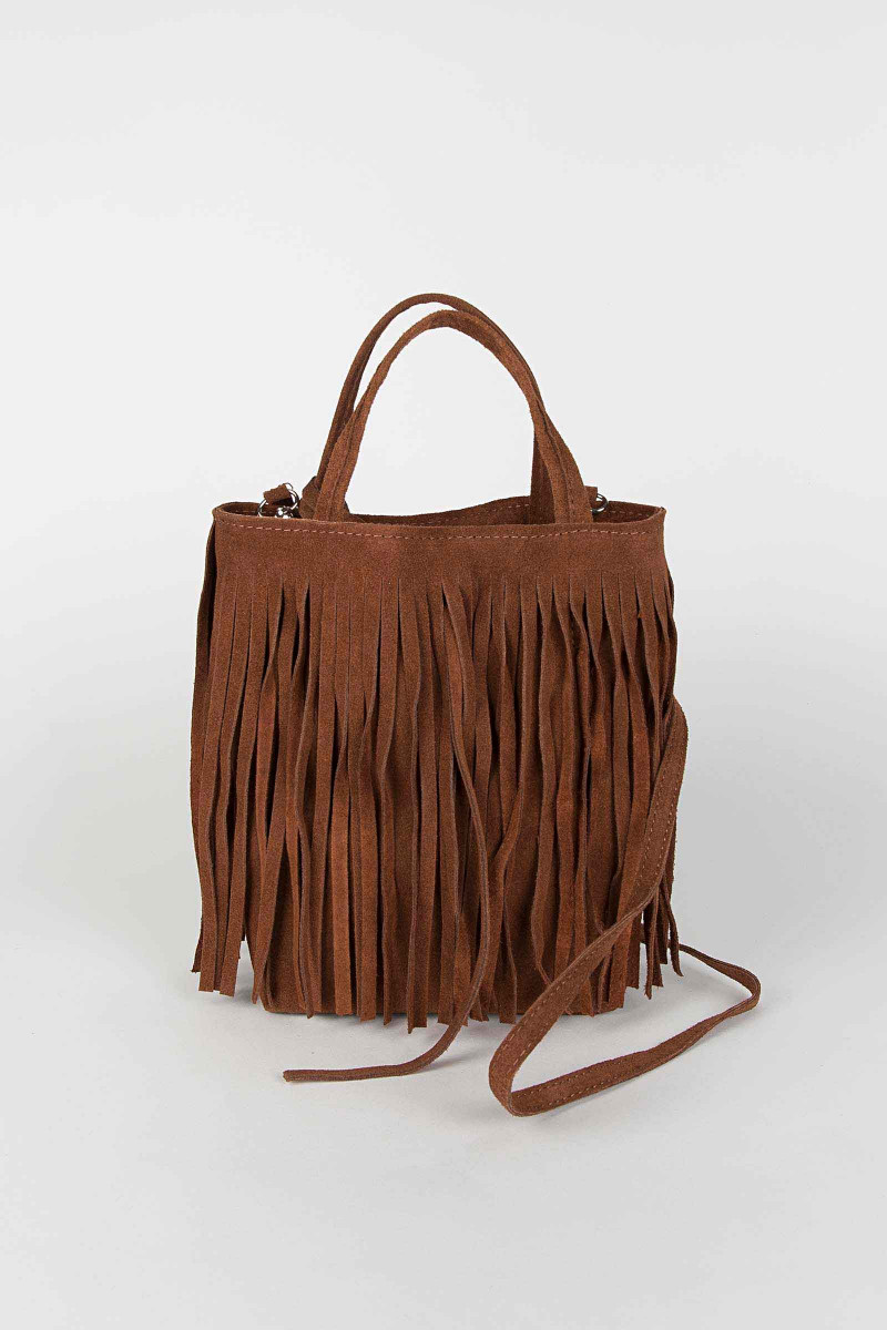 Brown Fringe Shoulder Bag Elisa & Eduardo Rivera