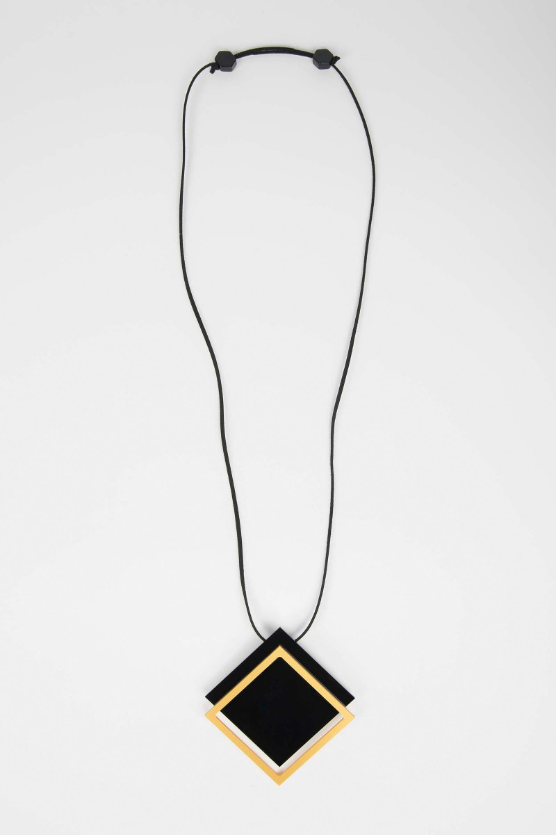 Black-Yellow Box Necklace Elisa & Eduardo Rivera
