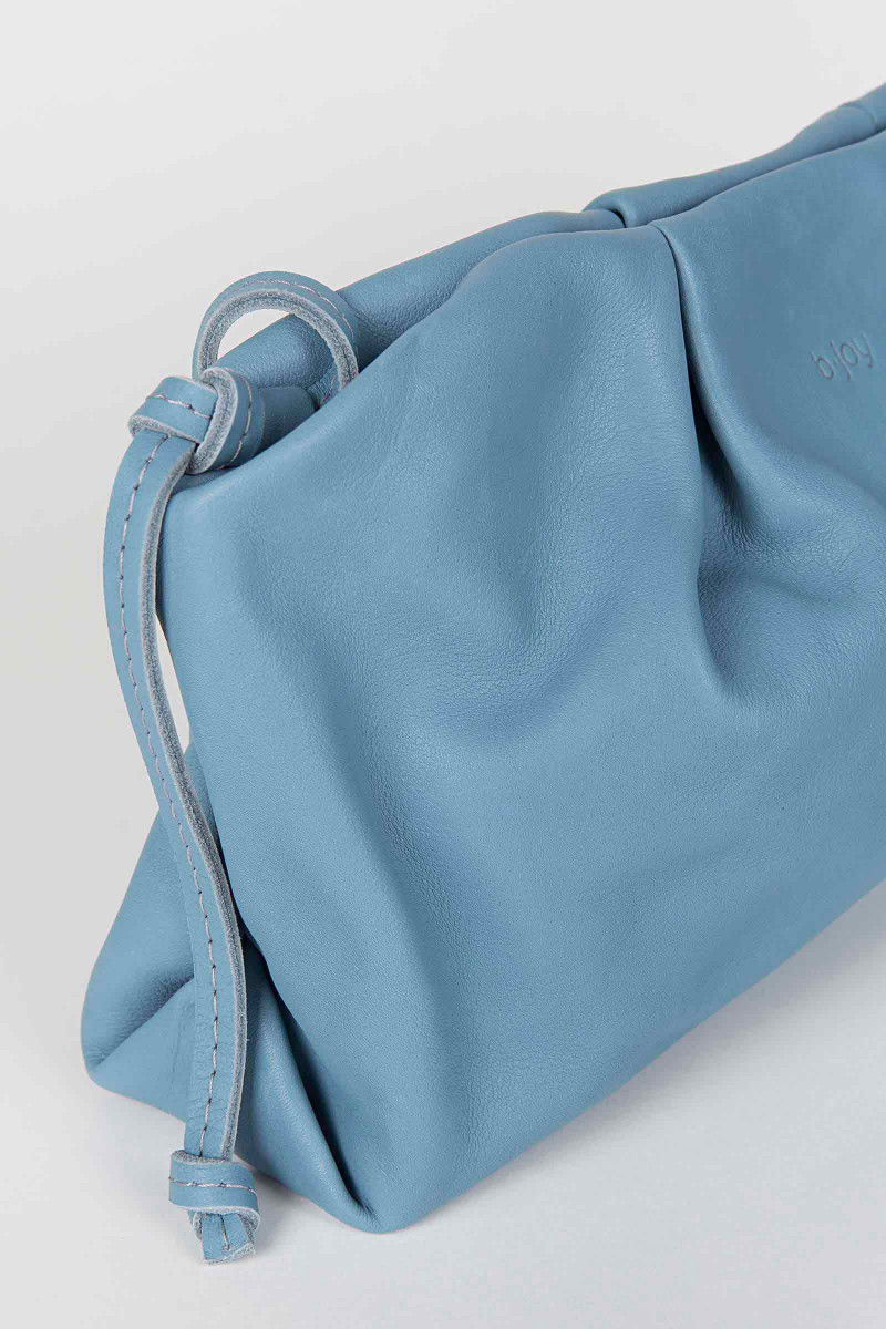 Blue Sandra Leather Clutch