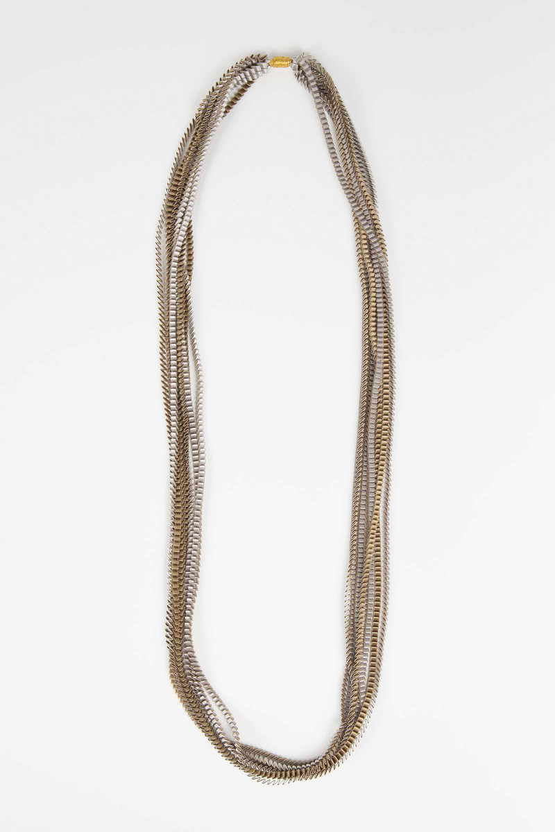 Silver-Khaki Pleated Necklace Elisa & Eduardo Rivera