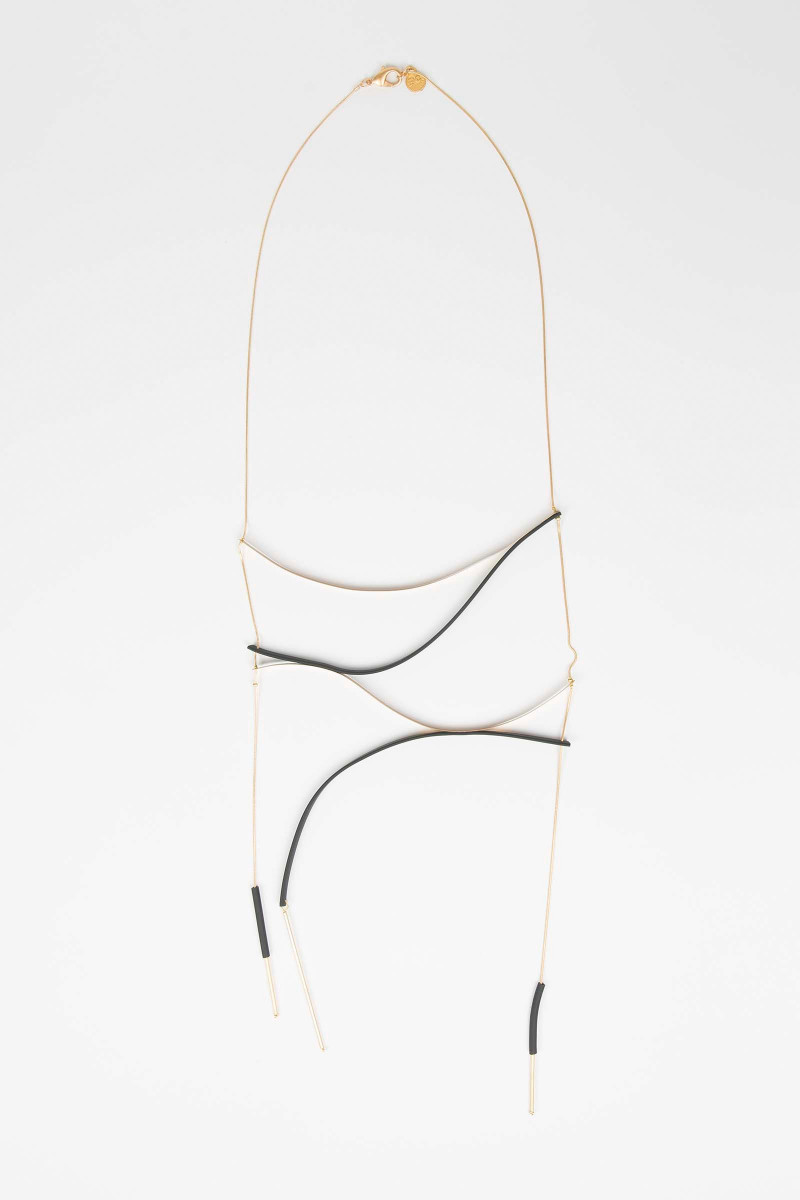 Gold-Black Strips Necklace Elisa & Eduardo Rivera