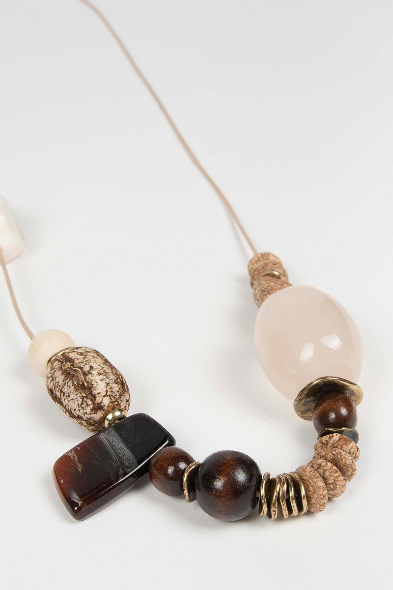 Taupe Wood Necklace