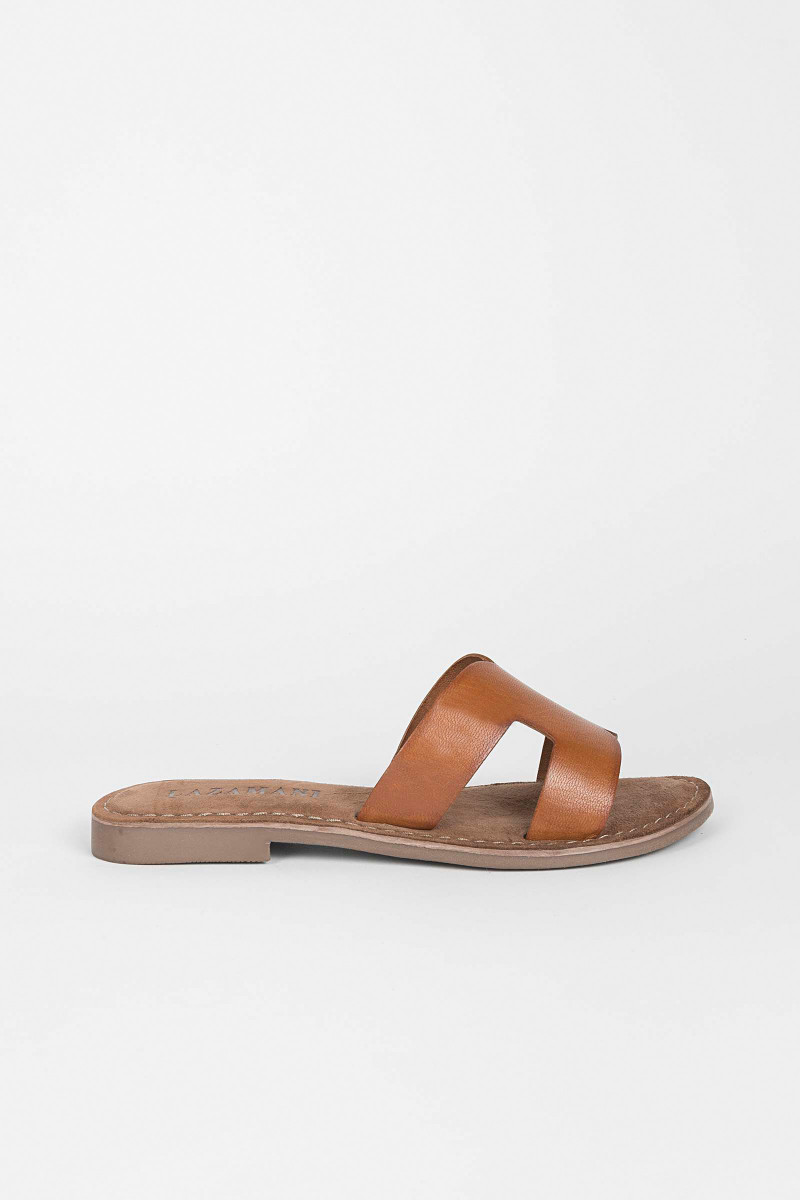 Cross Cognac Sandals Elisa & Eduardo Rivera