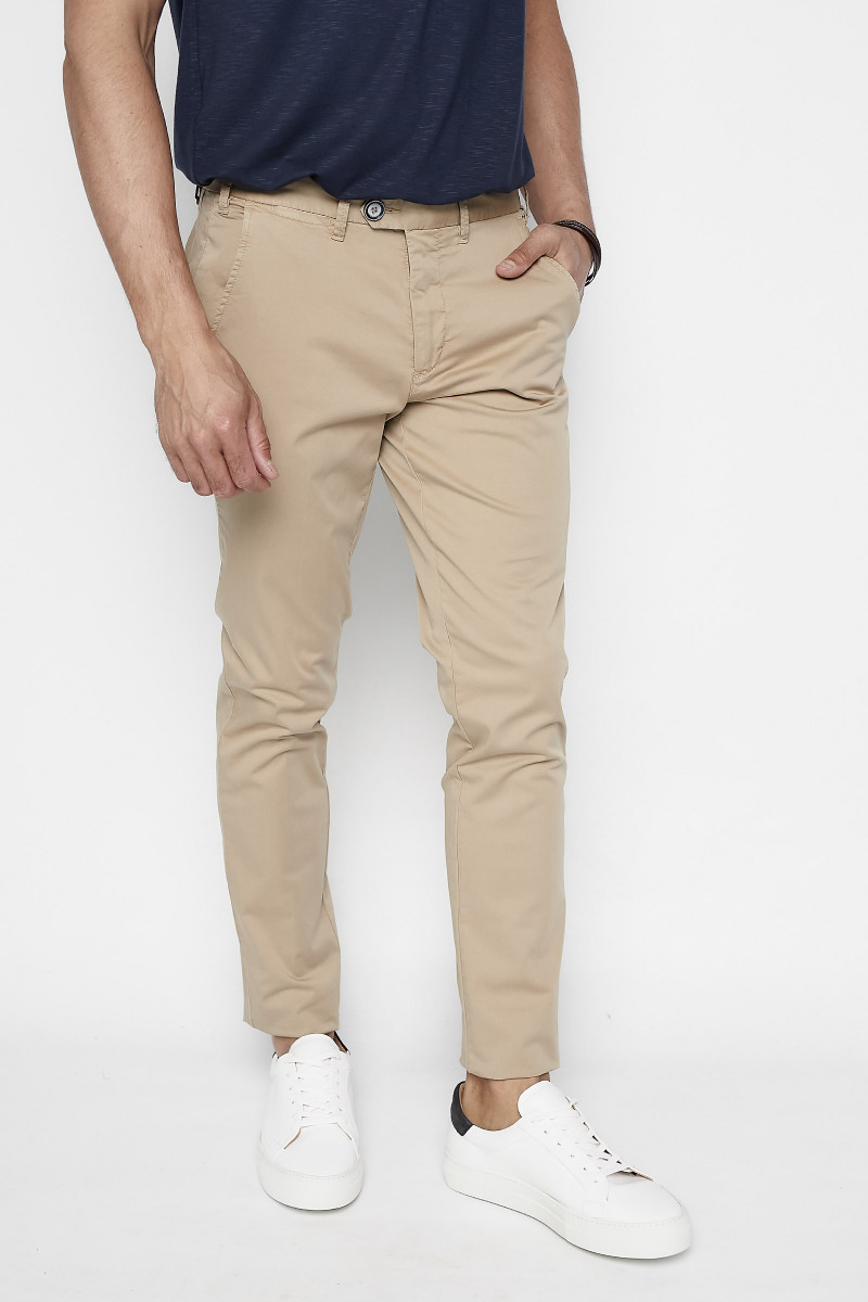 Beige Cotton Casual Pants Eduardo Rivera