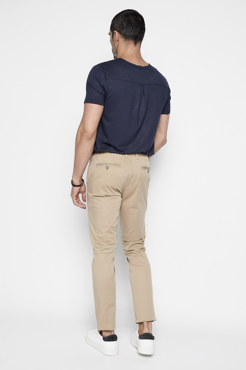 Beige Cotton Casual Pants