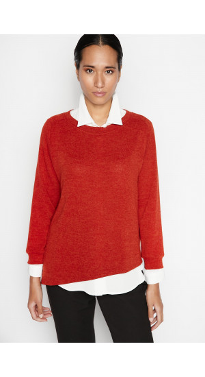 Red Asymmetric Sweater Elisa Rivera