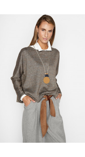Camel-Gray Pedraza Sweater Elisa Rivera