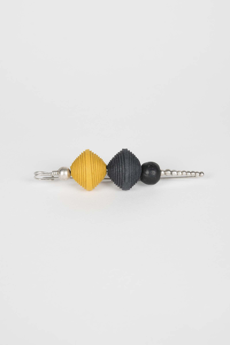 Yellow-Black Spheres Brooch Elisa Rivera