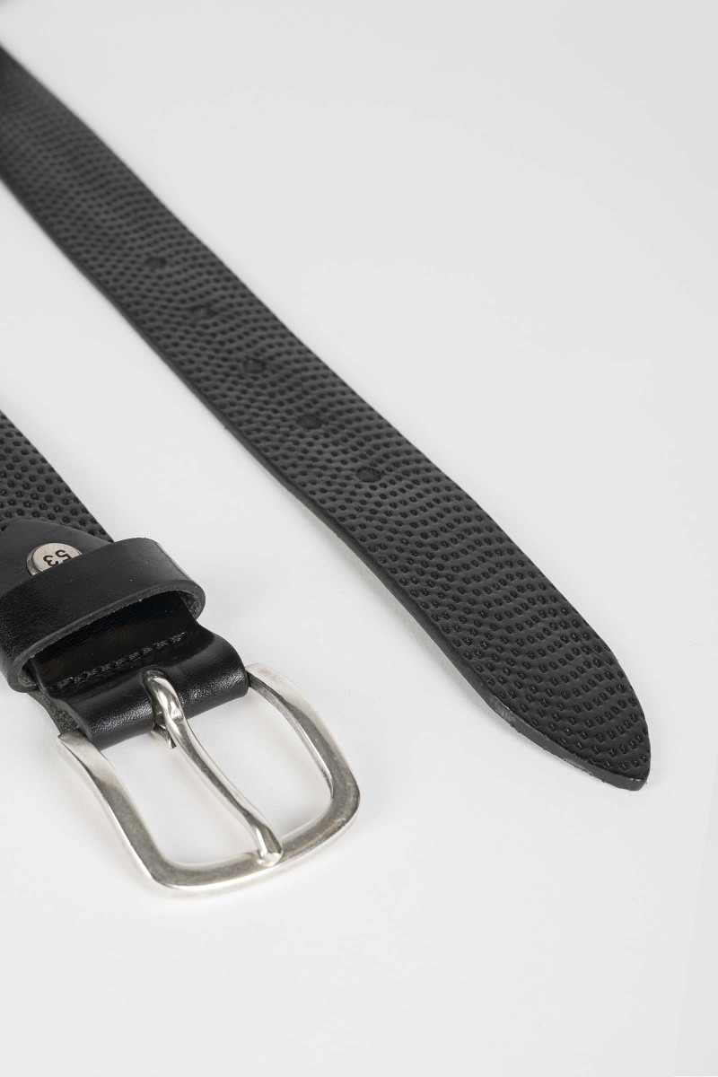 Black Engraved Leather Belt